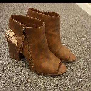 2 for $20 Brown 9.5 peep toe bootie